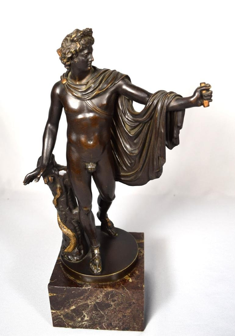 LATE 19TH C BRONZE AFTER LEOCHARES SCULPTURE OF APOLLO