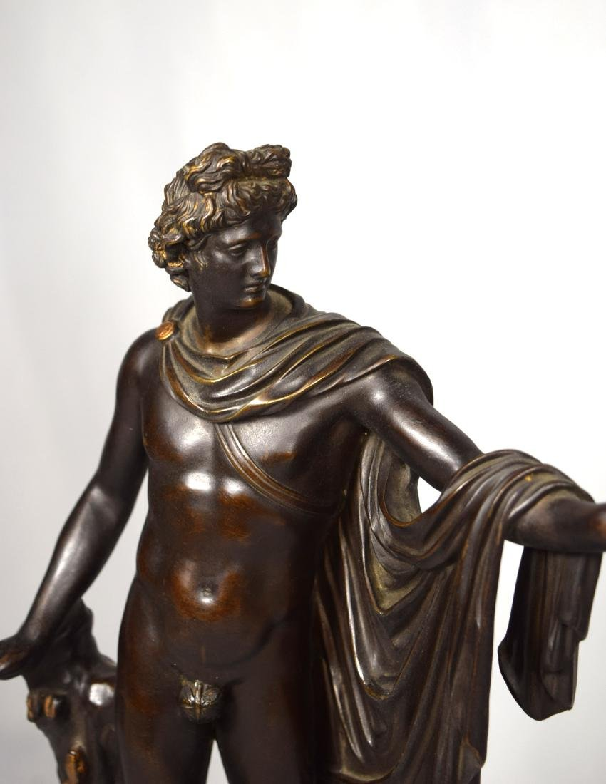 LATE 19TH C BRONZE AFTER LEOCHARES SCULPTURE OF APOLLO - 3