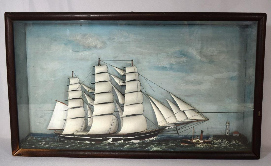 MID 19TH C AMERICAN TALL SHIP SHADOW BOX DIORAMA: