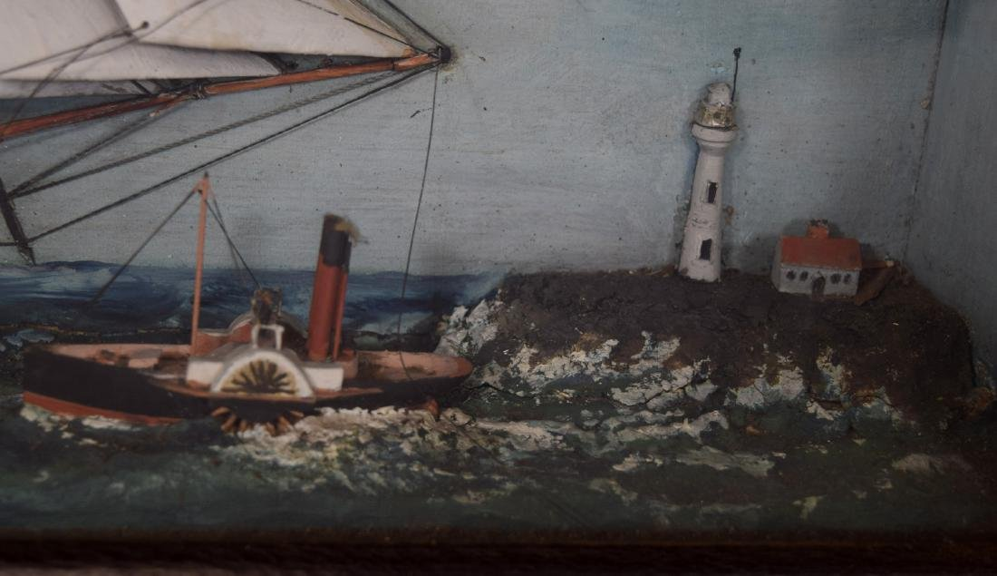 MID 19TH C AMERICAN TALL SHIP SHADOW BOX DIORAMA: - 4