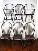 SET OF SIX LAWRENCE CROUSE WINDSOR STYLE CHAIRS