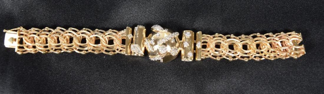 14KT CUSTOM MADE YELLOW GOLD & DIAMOND BRACELET: - 2