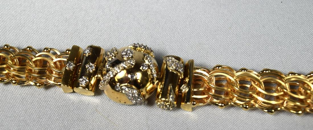 14KT CUSTOM MADE YELLOW GOLD & DIAMOND BRACELET: - 6