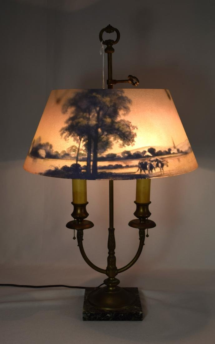 PAIRPOINT REVERSE PAINTED TABLE LAMP: - 2
