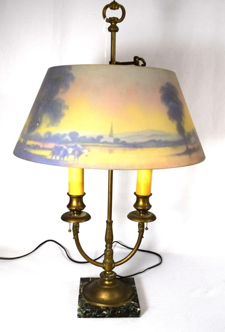 PAIRPOINT REVERSE PAINTED TABLE LAMP: - 5
