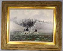 DOUGLAS RICKS OIL ON BOARD WINTER INDIAN ENCAMPMENT