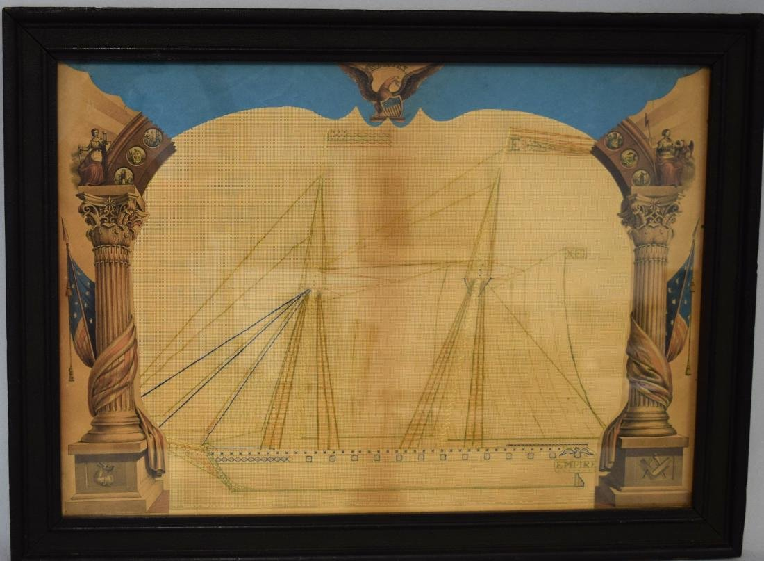 VICTORIAN PUNCHED PAPER EMBROIDERY PATTERN OF US BRIG:
