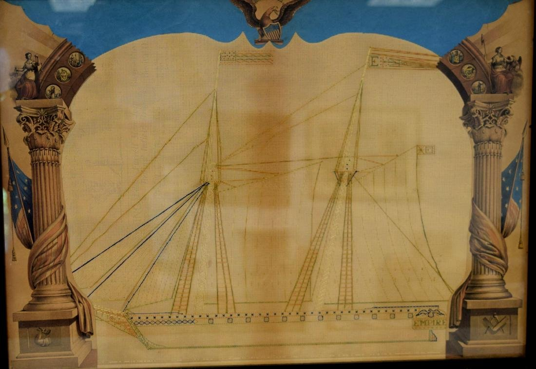 VICTORIAN PUNCHED PAPER EMBROIDERY PATTERN OF US BRIG: - 2