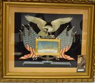 CHINESE EXPORT PATRIOTIC US NAVAL SILK EMBROIDERY: