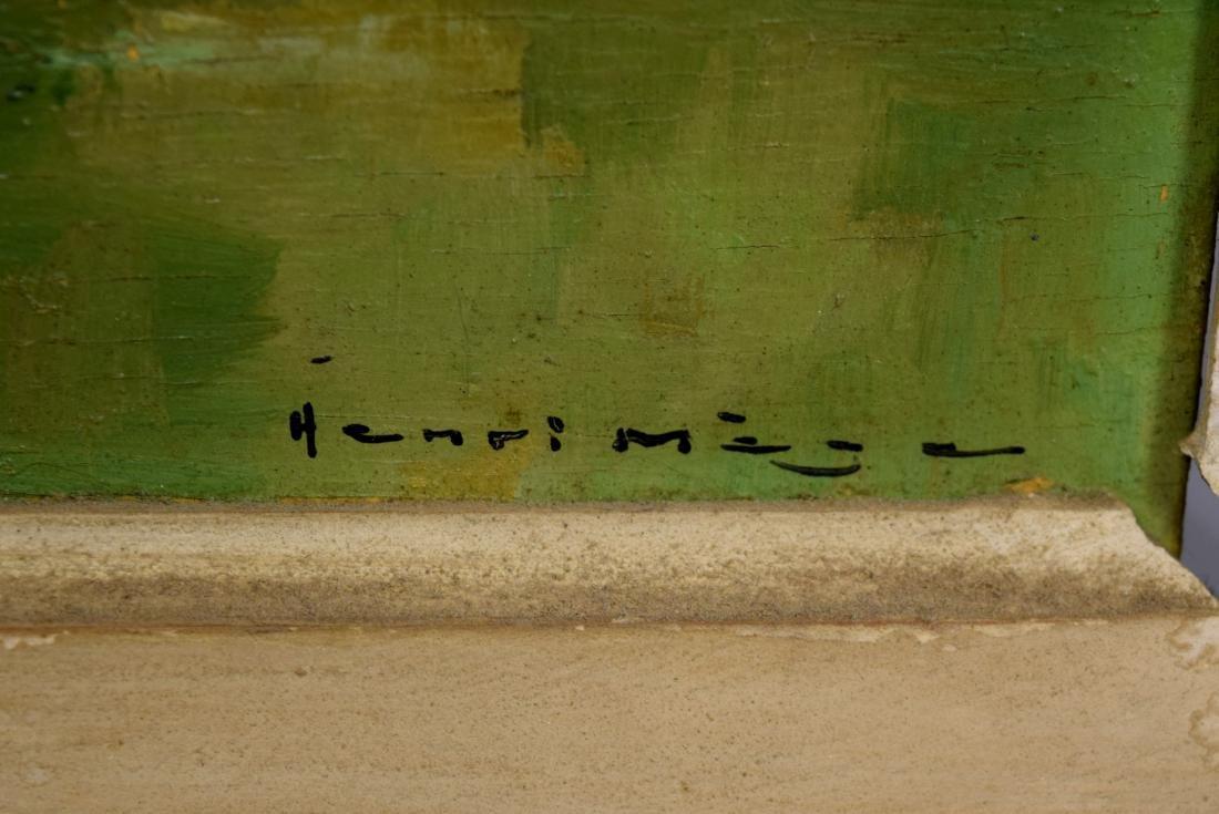 HENRI MEGE OIL ON BOARD PAINTING: - 4