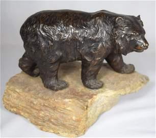 CARL KAUBA BRONZE SCULPTURE OF A GRISSLY BEAR: