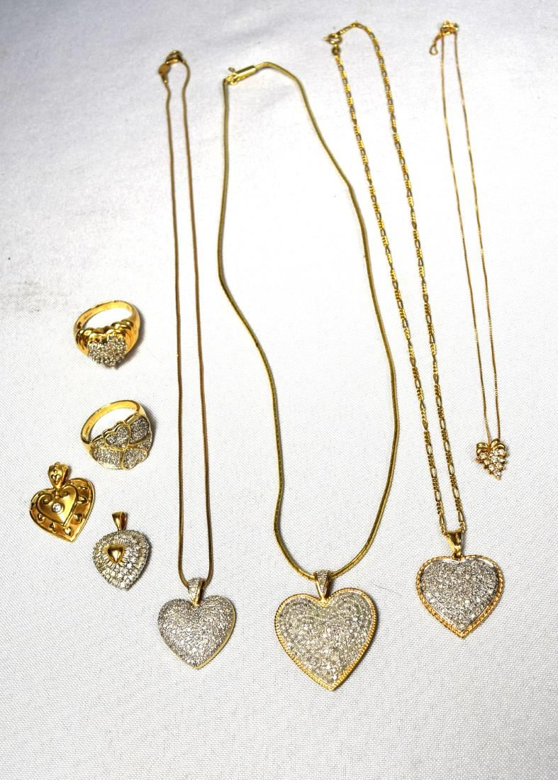 GOLD & DIAMOND HEART MOTIF JEWELRY LOT: