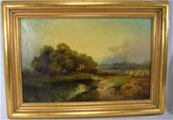 19TH C LANDSCAPE OIL ON CANVAS