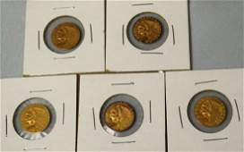 FIVE US INDIAN HEAD TWO  HALF DOLLAR GOLD COINS