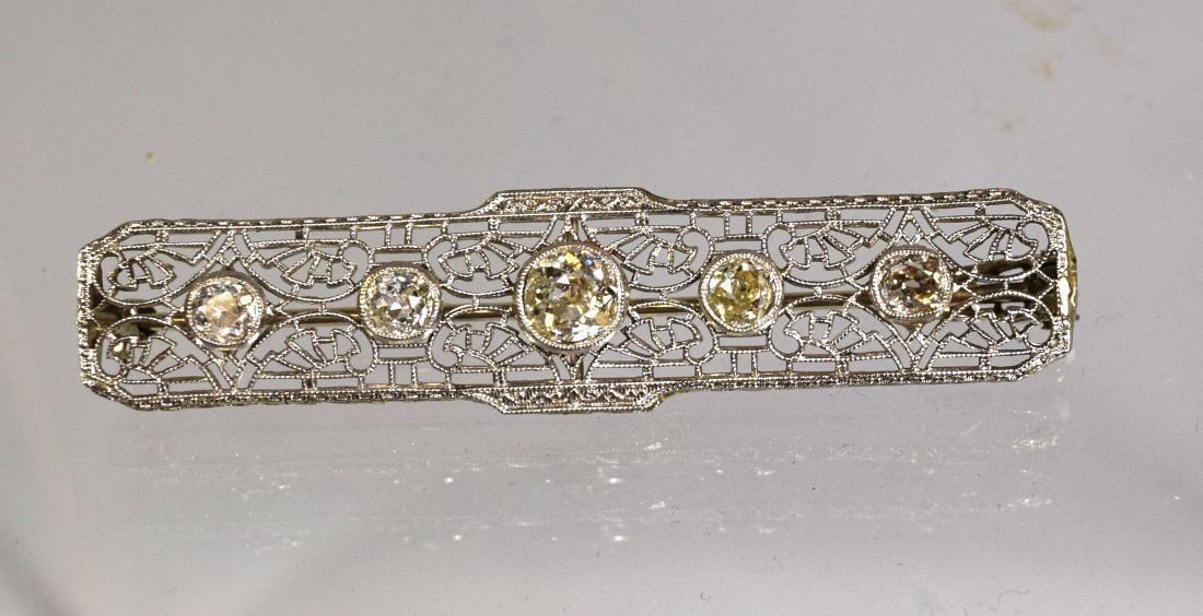 14KT WHITE GOLD & DIAMOND FILIGREE BAR PIN: