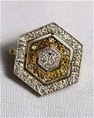 14KT WHITE & YELLOW GOLD OCTAGON DIAMOND SET NECKLACE