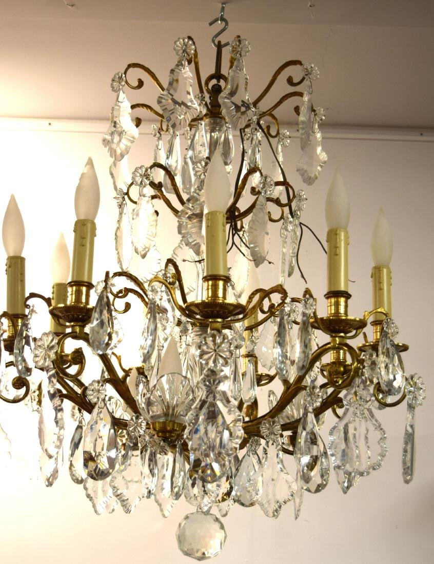 4 TIER BACCARAT FRENCH GILT-BRONZE CRYSTAL CHANDELIER: