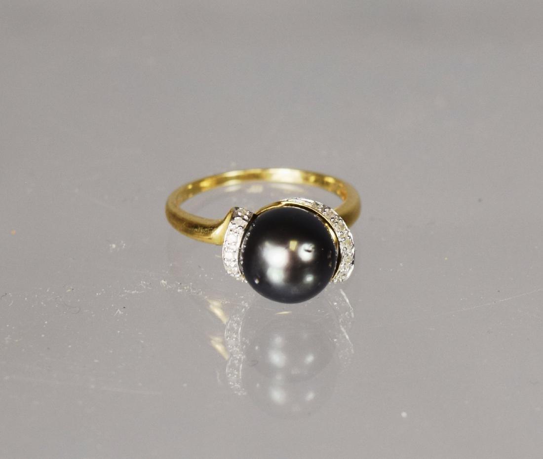 BLACK SOUTH SEA PEARL & DIAMOND RING: