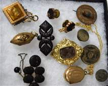 ASSEMBLED GOLD & GOLD PLATED MOURNING VICTORIAN