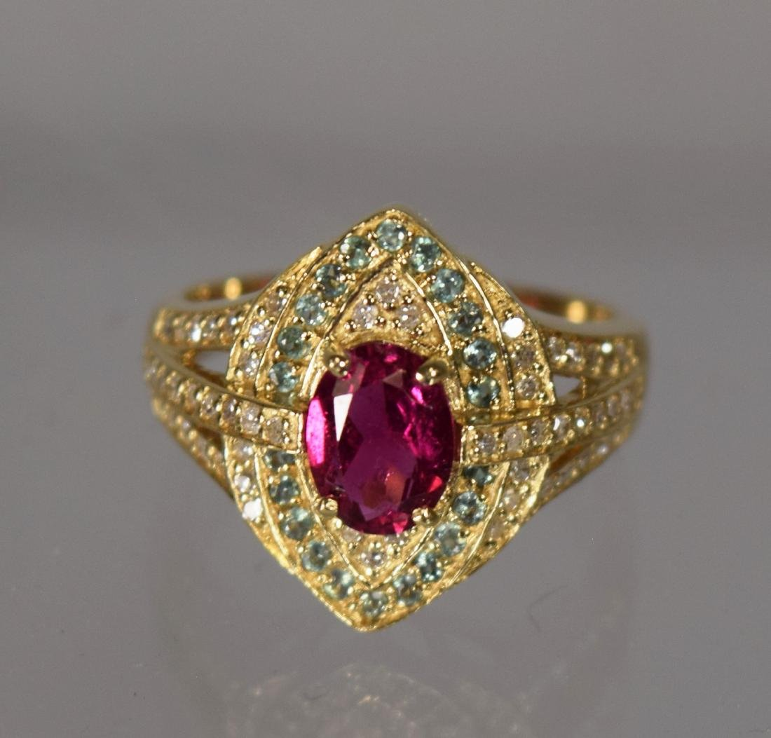 14KT YELLOW GOLD PINK TOURMALINE GREEN SAPPHIRE DIAMOND