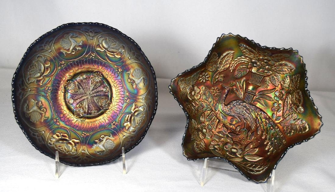 TWO CARNIVAL GLASS BOWLS:
