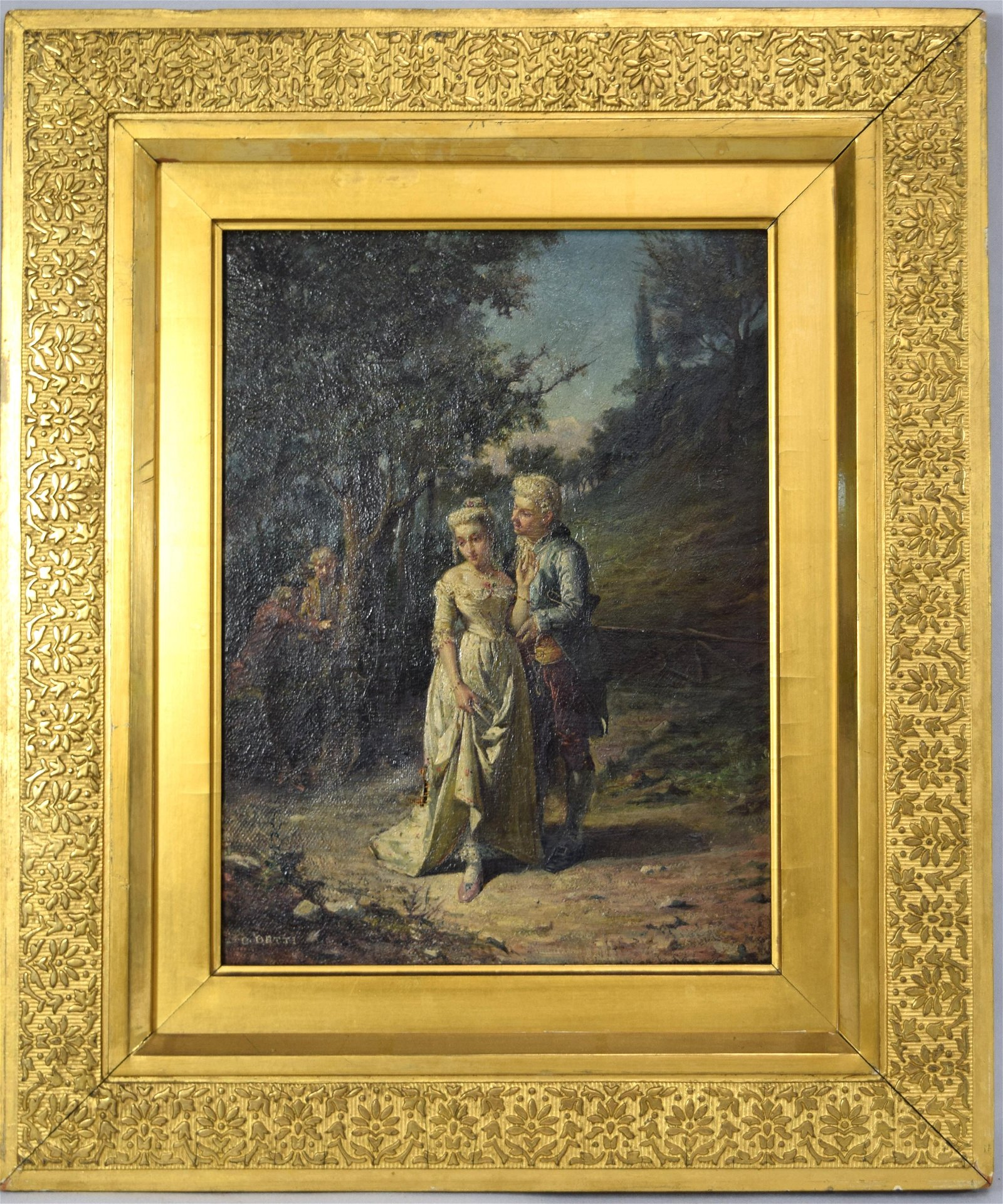 C. DETTI OIL ON CANVAS LANDSCAPE WITH FIGURES: