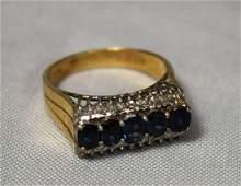 14 KT GOLD, DIAMOND & SAPPHIRE RING: