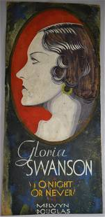 1931 GLORIA SWANSON HAND PAINTED DOUBLE-SIDED THEATRE