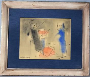 LYONEL FEININGER 1955 WATERCOLOR & INK