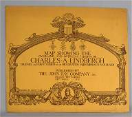 CHARLES LINDERGH OVERSEAS MAP WITH SLIP CASE: