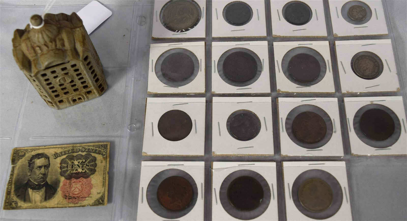 MISC. COIN LOT with CAST IRON STILL BANK: