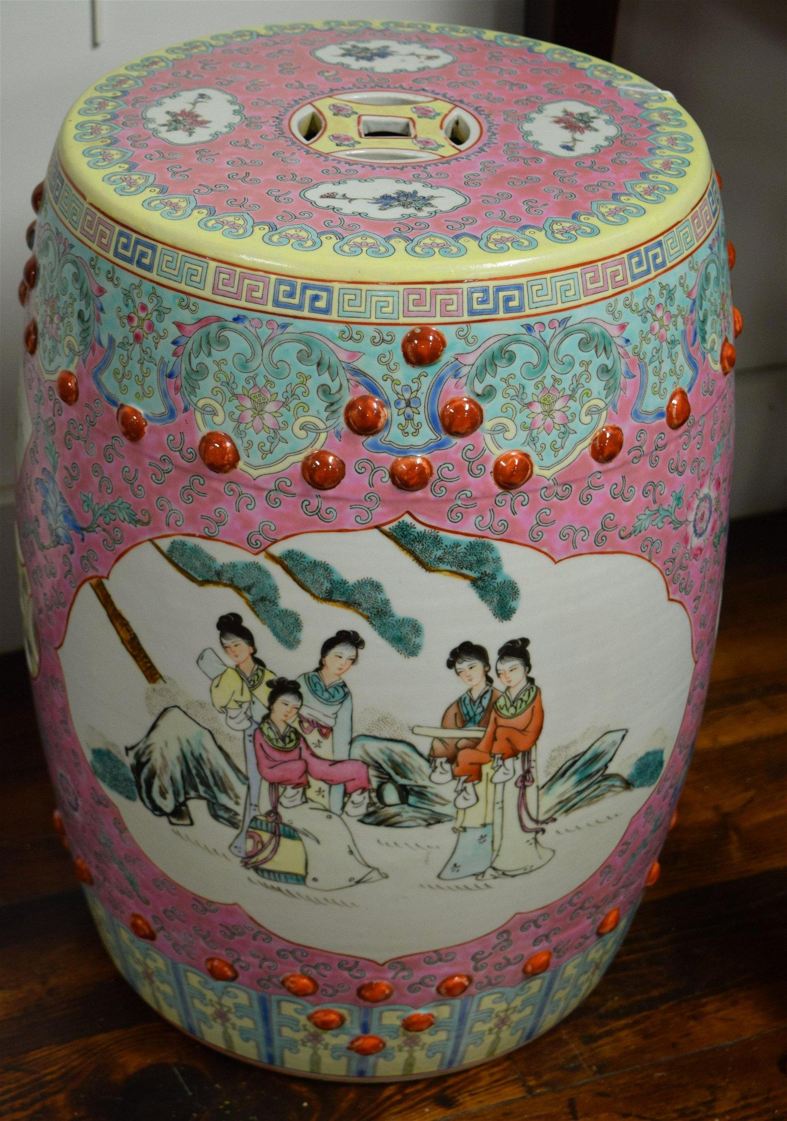MODERN ASIAN FAMILLE ROSE PORCELAIN GARDEN SEAT: