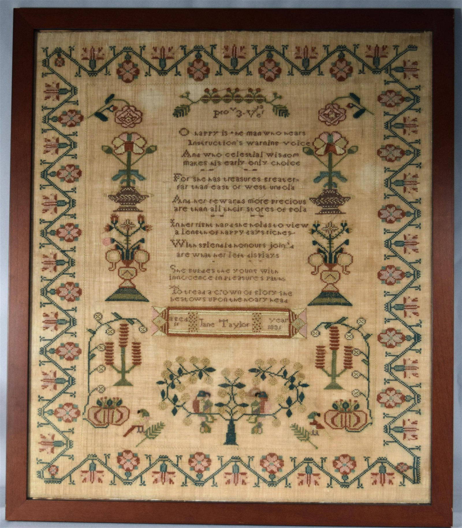 LARGE EARLY 19TH C NEW ENGLAND SAMPLER: