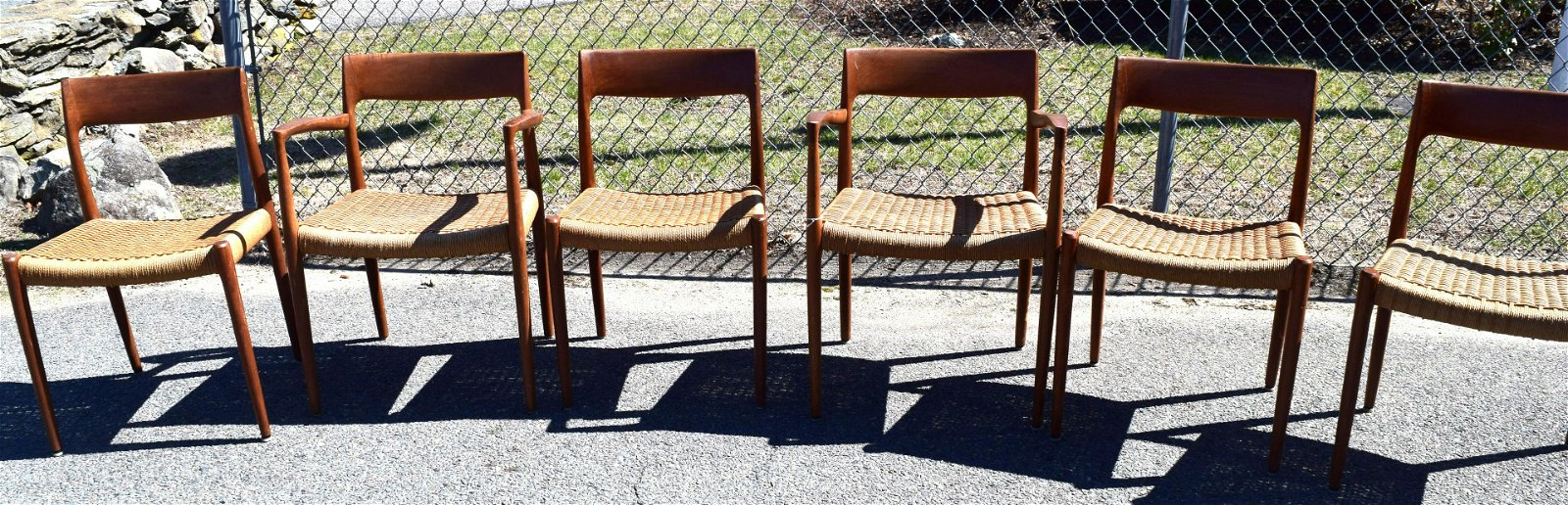 SET OF SIX NIELS MOLLER TEAK DINING CHAIRS: