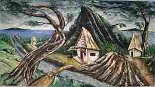 JACQUES-EUGUERRAND GOURGUE HAITIAN PAINTING ON