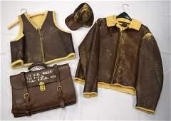 WWII LEATHER FLEECE LINED BOMBER JACKET, VEST & CAP: