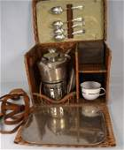 VINTAGE WICKER AUTOMOBILE TRAVEL PICNIC SET