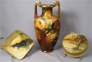 THREE ASSEMBLED NIPPON PORCELAIN PIECES
