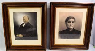 19TH WALNUT FRAMED ENHANCED PORTRAITS:
