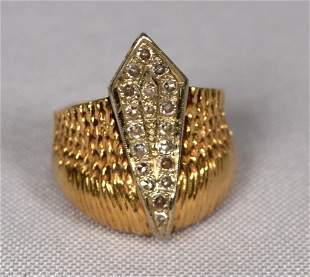 14K GOLD DIAMOND DOME RING
