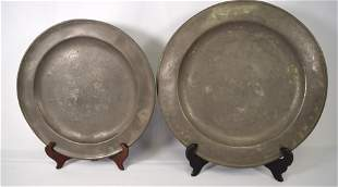 2 EARLY PEWTER CHARGERS