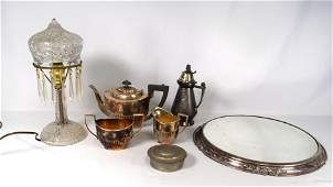 VICTORIAN SILVERPLATE, PEWTER, LAMP &ETC