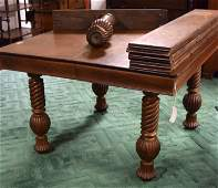 19TH C VICTORIAN OAK KITCHEN TABLE