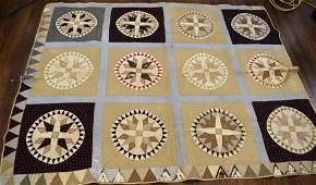 19TH CENTURY MARINERS COMPASS QUILT: