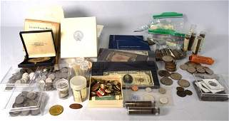 GROUPING OF COINS, CURRENCY AND POLITICAL ITEMS