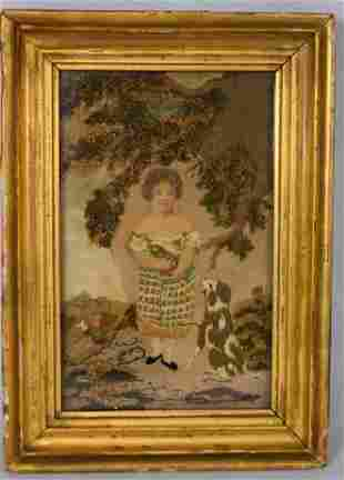SILK NEEDLEWORK PICTURE WITH GIRL, CAT & DOG