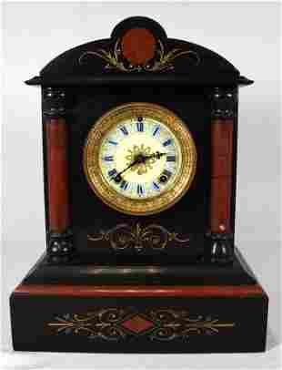 ANSONIA BLACK & RED MARBLE  MANTLE CLOCK