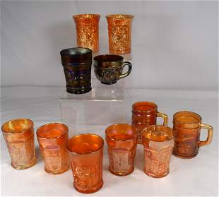 11 CARNIVAL GLASS TUMBLERS & MISC. PIECES
