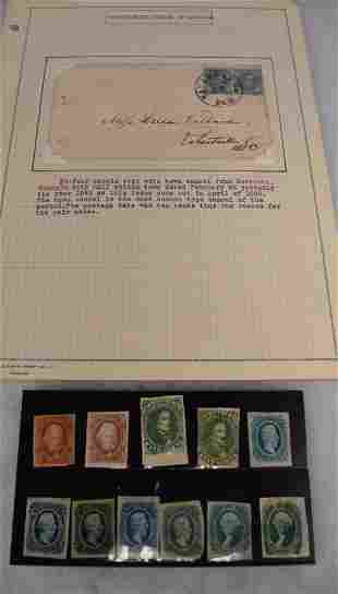 US CONFEDERATE STATES STAMPS & 1 COVER