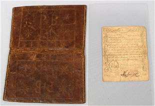 1775 MASSACHUSETTS CURRENCY & COLONIAL WALLET